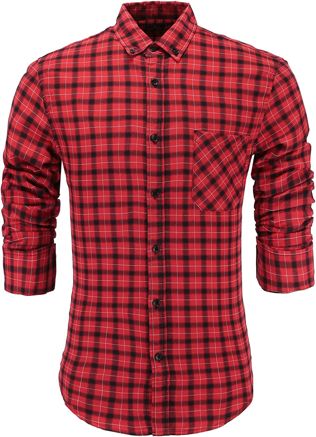Emiqude Mens 100/% Cotton Slim Fit Long Sleeve Plaid Button-Down Checked Dress Shirt