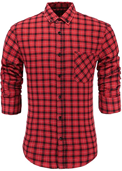 ae3d73bf4cf9 Emiqude Men's 100% Cotton Slim Fit Long Sleeve Plaid Button-Down Checked  Dress Shirt