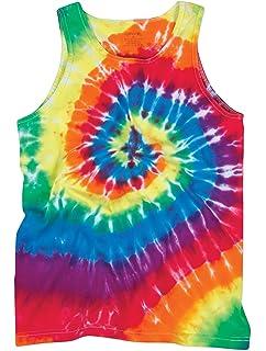 a8443648a38dbf Bright Flourescent Rainbow Swirly Spiral Unisex Adult Tie Dye Tank Top Shirt