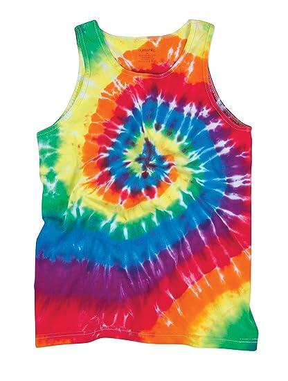 eb29af579ca Bright Flourescent Rainbow Swirly Spiral Unisex Adult Tie Dye Tank Top Shirt