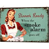 Dinners Ready... Funny Metal Sign Unique Vintage Kitchen Tin Plaque Gift
