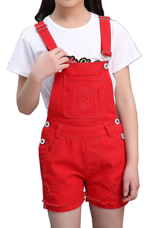 Sitmptol Big Girls Kids Denim Overalls Cute Jumpsuits Casual Bib Boyfriend Romper 1 Piece 18Arp-180409-1