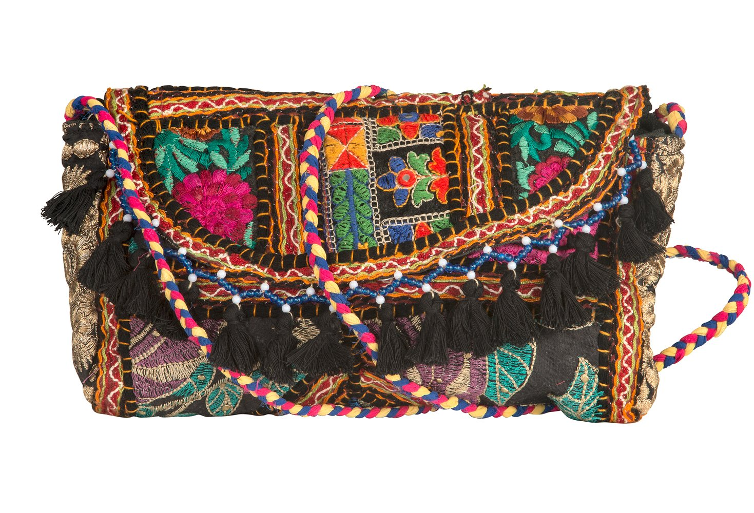 Tribe Azure Satchel Quilted Purse Handbag Tote Cross body Patchwork Embroidered Tassel Women Fashion Boho Hippie Hipster Pom (Black)
