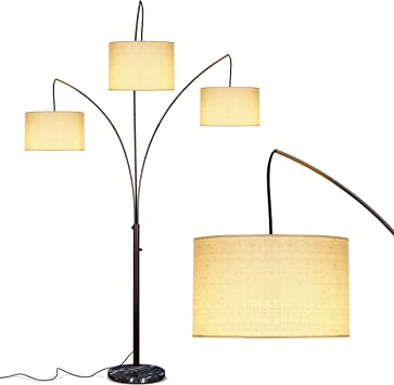 Amazon Com Brightech Trilage Arc Floor Lamp W Marble Base 3 Lights Hanging Over The Couch From Behind Multi Head Arching Tree Lamp For Mid Century Modern Contemporary Rooms