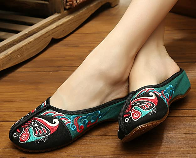 Icegrey Women's Handmade Embroidered Opera Face Slipper Clogs:  Amazon.co.uk: Shoes & Bags