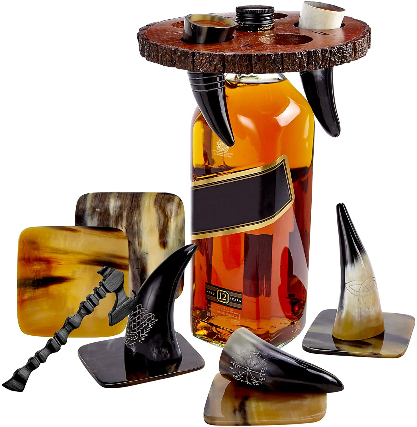 Viking Culture Viking Horn Drinking Cup Shot Glasses with Vintage Axe Bottle Opener, Coasters, and Rustic Wood Display Stand, Toasting Vessels for Party, Event, Bachelors