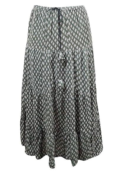 59b8dca865 Mogul Interior Womens Bohemian Skirt Printed Crinkle Cotton Gypsy Flirty  Maxi Skirts: Amazon.co.uk: Clothing