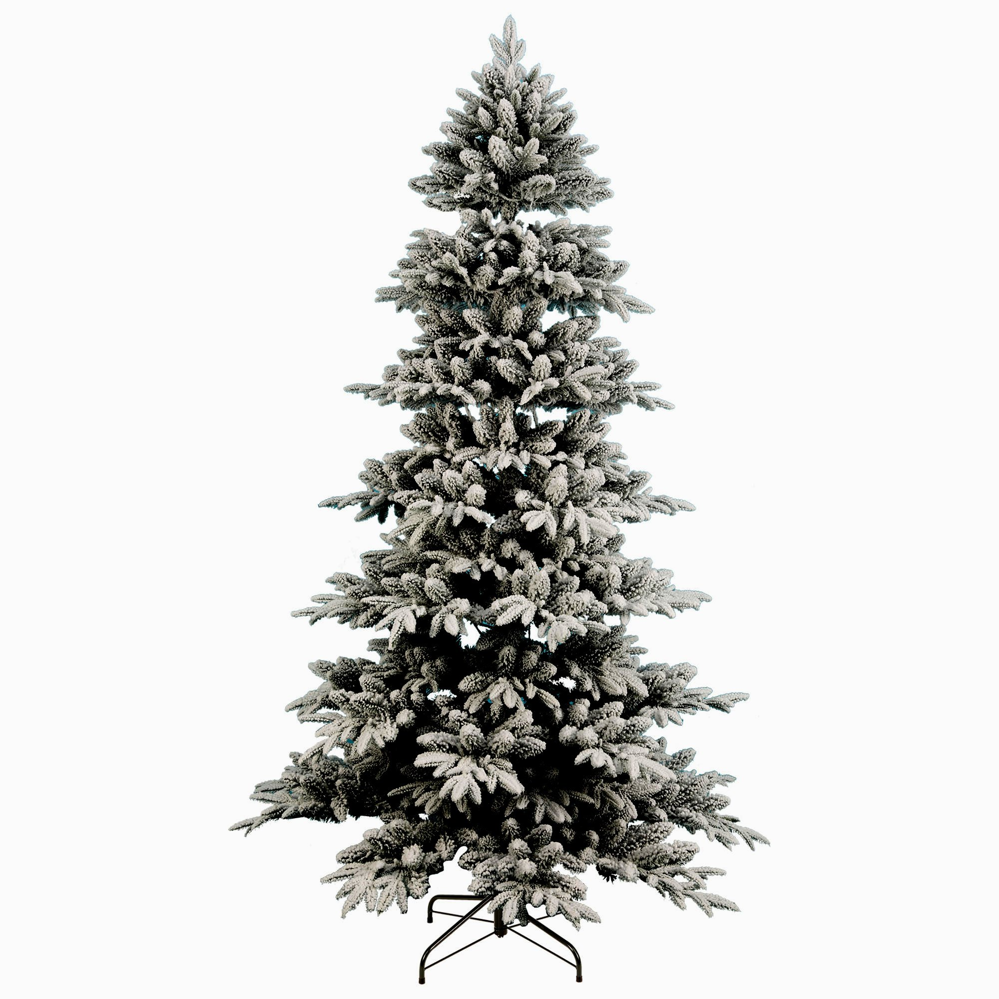 Artificial Christmas Tree. Fake 7.5 Foot Xmas Flocked Pine. It's Classic Fir Shape Looks Neat & Natural, Dense, Lush Foliage. Beautifully Flocked Branches. Great For Indoor, Holiday Season Party Decor