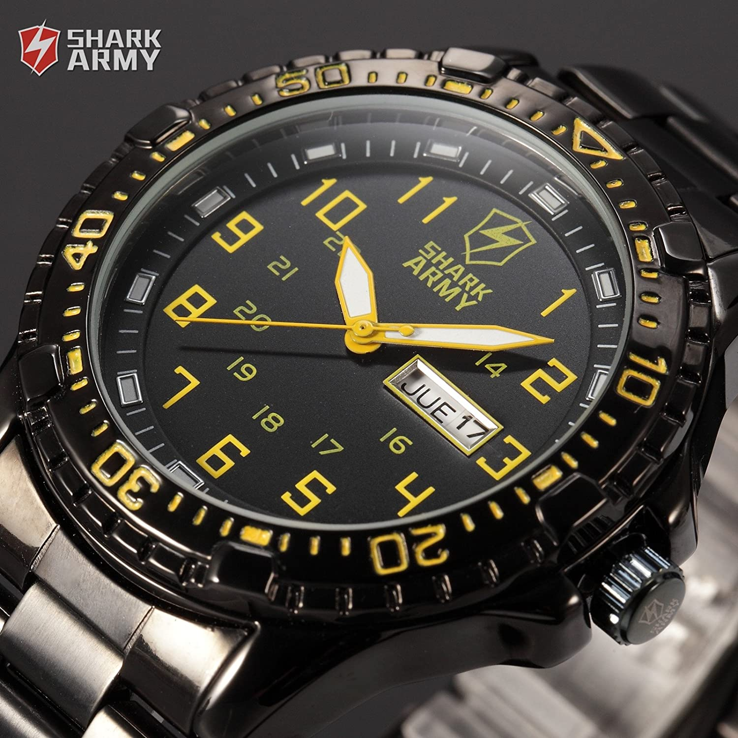 Shark Army Yellow SAW092 Date Day Black Stainless Steel Band Military Men s Quartz Sport Watch