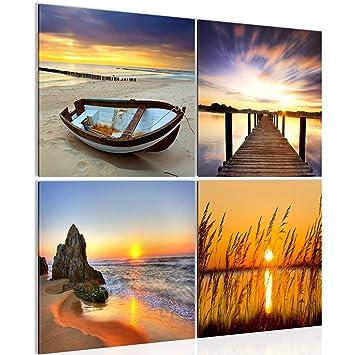 Bilder Sonnenuntergang Strand Wandbild Vlies - Leinwand Bild XXL Format  Wandbilder Wohnzimmer Wohnung Deko Kunstdrucke 60 x 60 cm Orang 4 Teilig  -100% ...