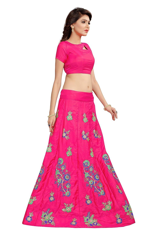 9ebbd4e172 Shoryam Fashion Girls pepar silk Lehenga Choli with Dupatta, Embroidered  Semi Stitched Lehenga,party wear lehenga choli for girls(free size_  SF_darsti g1)