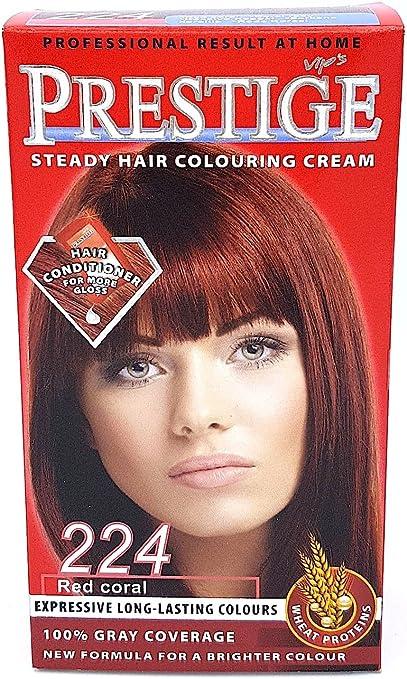 Vips prestige crema colorante para el cabello, color coral rojo 224