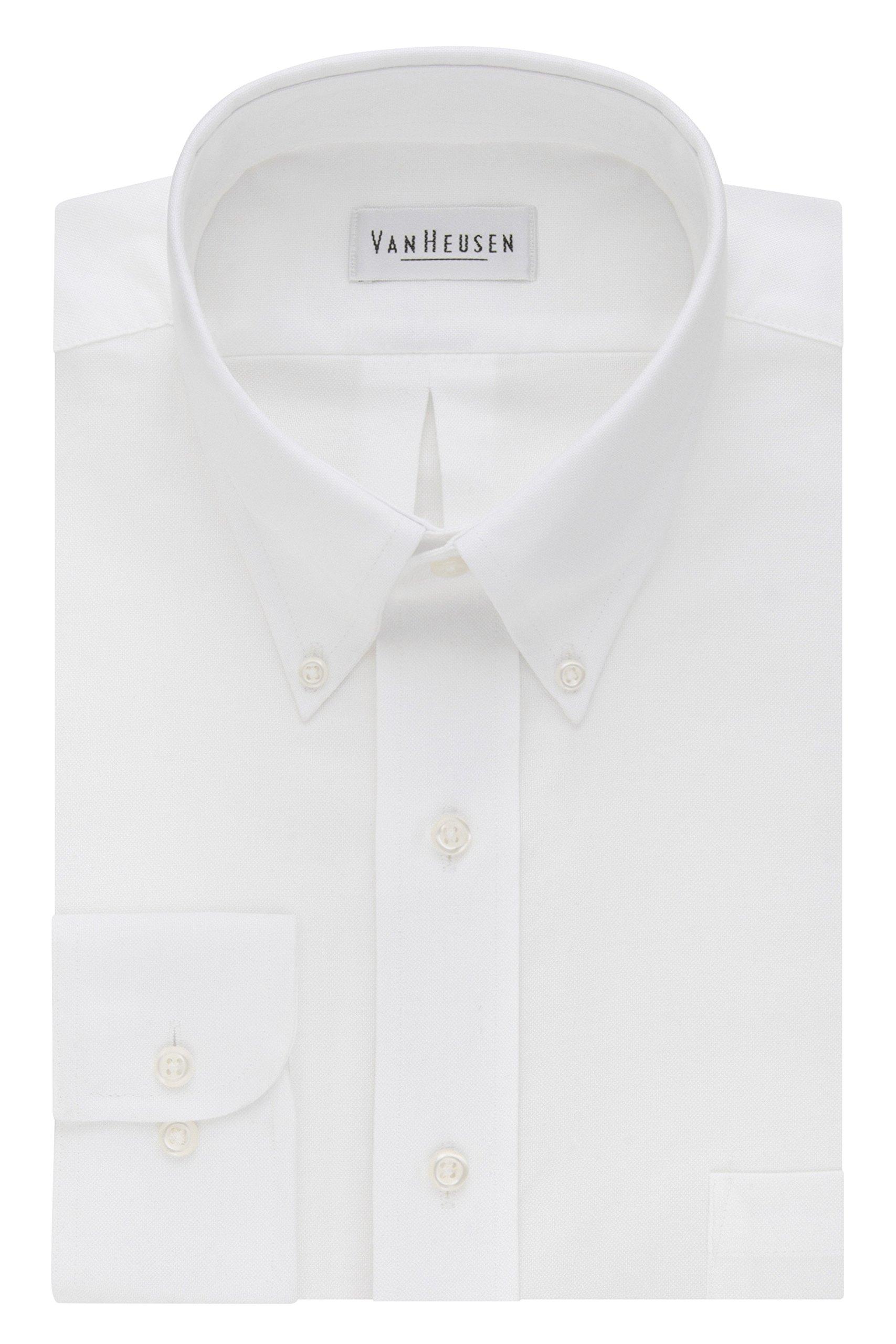 Van Heusen Men's Long-Sleeve Oxford Dress Shirt, White, 21'' Neck 36''-37'' Sleeve