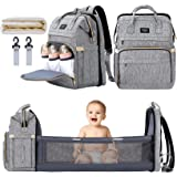 Xinsilu All in 1 Diaper Bag Backpack Foldable Baby Bed, Diaper Changing Station with USB Charging Port, Waterproof Multi-Func