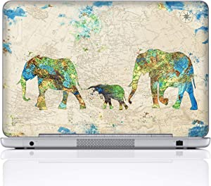 Meffort Inc 15 15.6 Inch Laptop Notebook Skin Sticker Cover Art Decal (Included 2 Wrist pad) - Family of Elephants