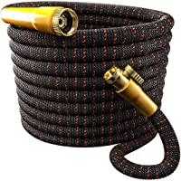 TBI Pro Garden Hose Expandable Flexible - Best Super Durable 3750D Fabric | 4-Layers Flex Strong Latex | No-Rust Brass Connectors with Pocket Protectors - Water Hoses for Gardening (100FT Hose Only)