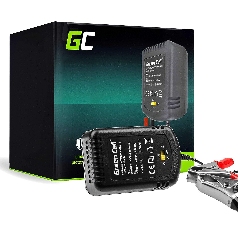 Green Cell® Cargador de batería (AGM, Gel, MF, SLA, VRLA) automático (Voltaje de Carga 2V / 6V / 12V) Cargador de batería para Coche Scooter ...