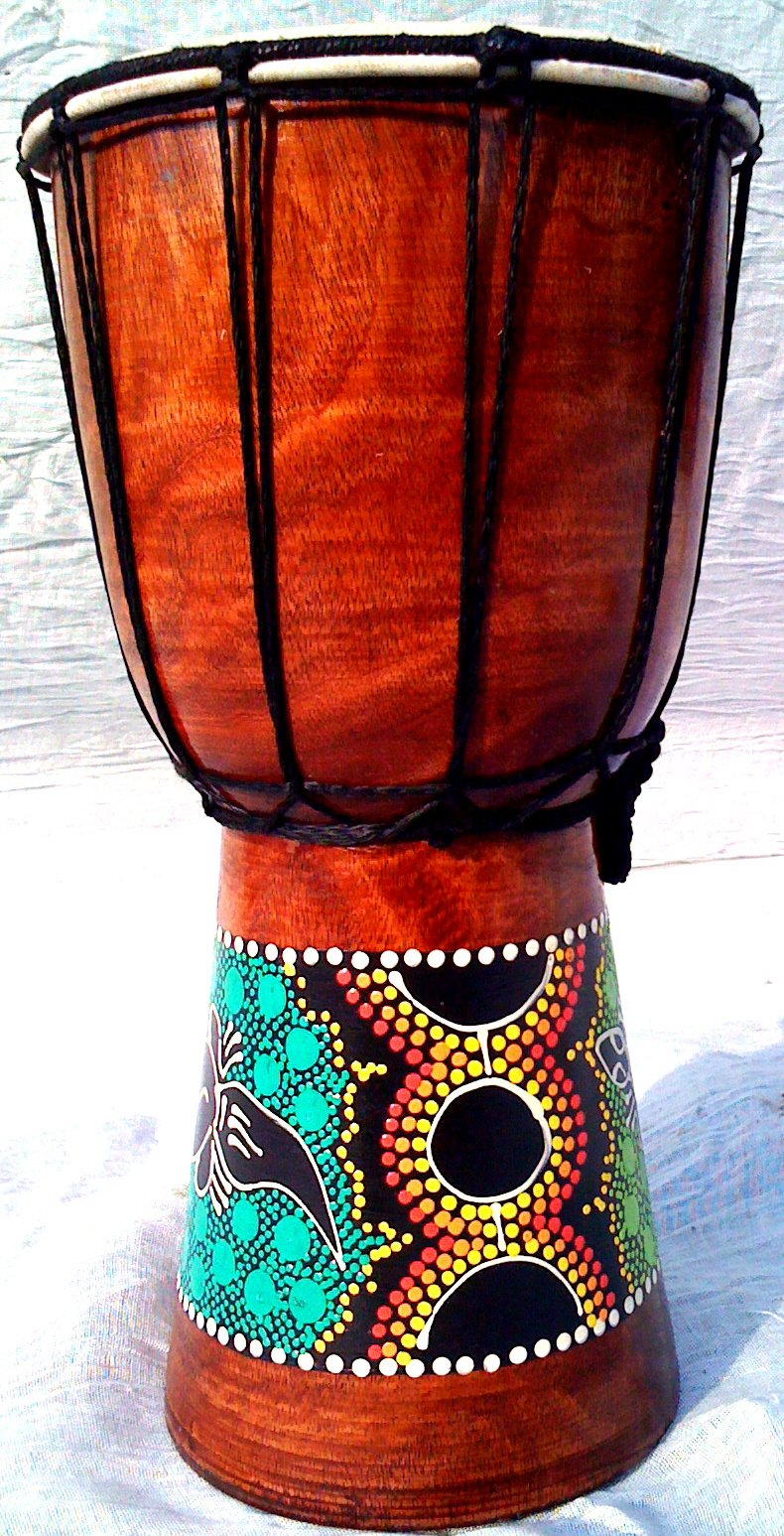 World Playground 30cm Djembe Drum with Hand Painted Design - West African Bongo Drum