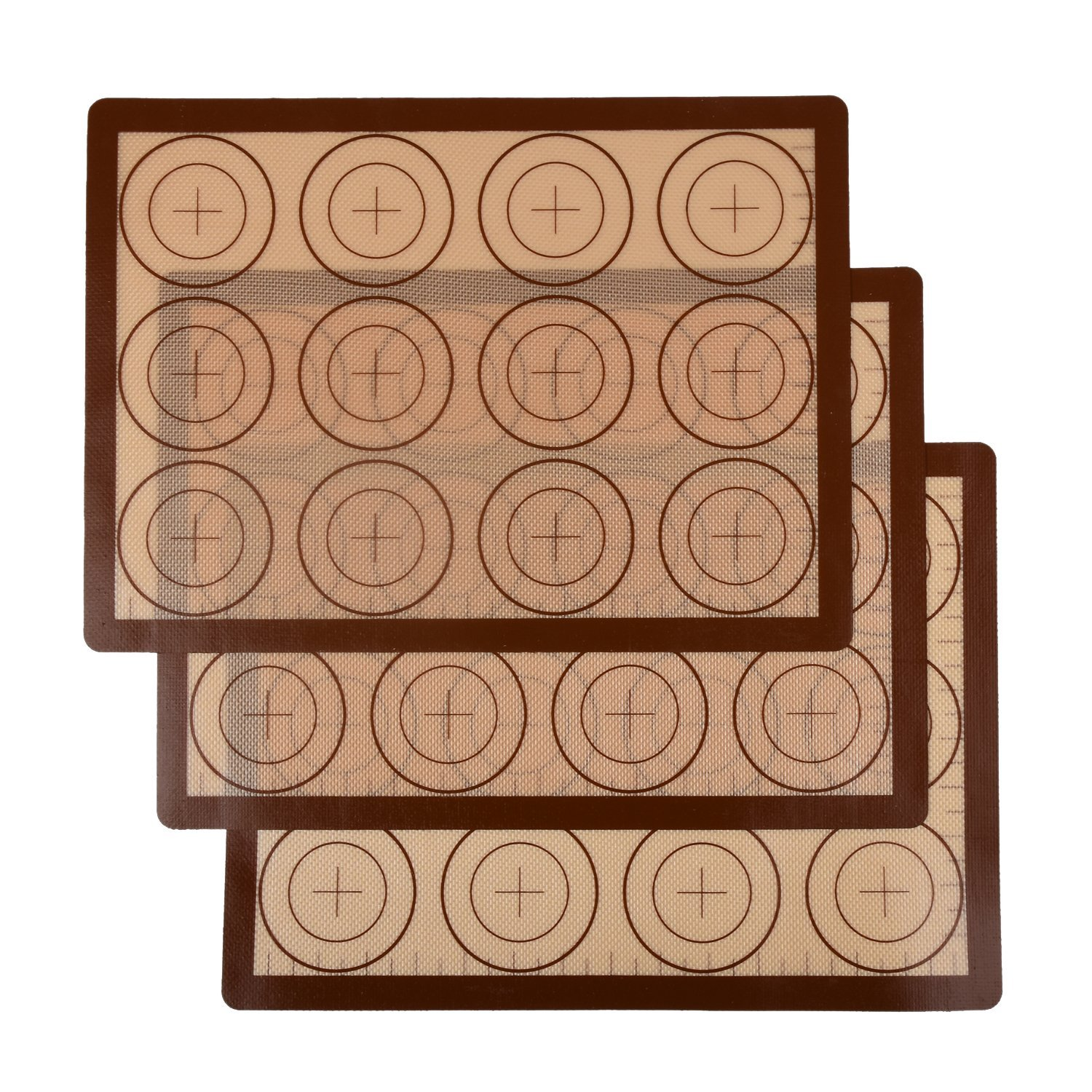 Seamersey Silicone Baking Mat Sheet Set - Set of 3 Sheet - Non-Stick Silicon Liner for Bake Pans & Rolling with Measurements - Macaron/Pastry/Cookie/Bun/Bread Making(16'' x 11.5'', Brown)
