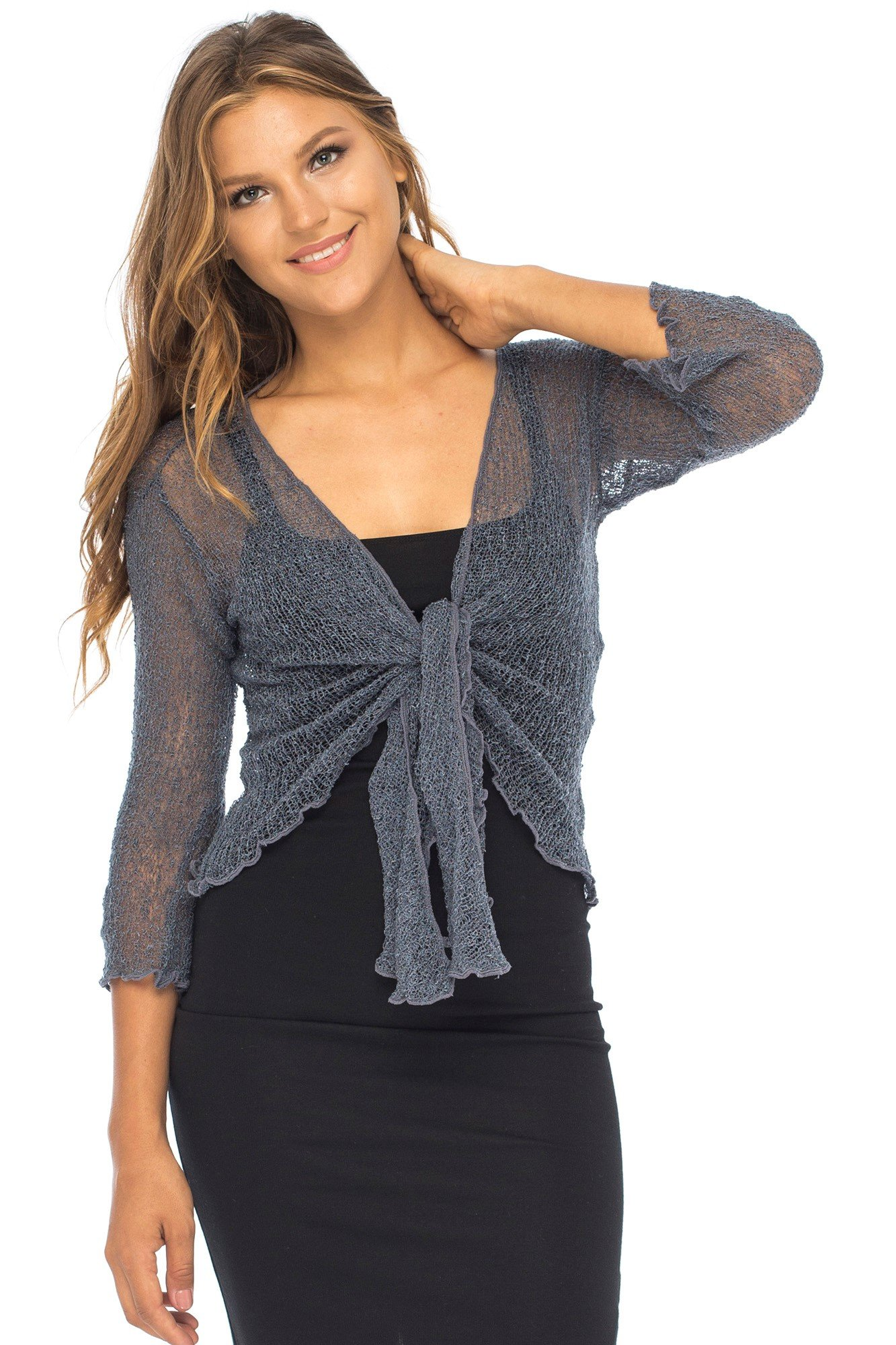 Back From Bali Womens Lightweight Knit Cardigan Shrug Lite Sheer Gunmetal