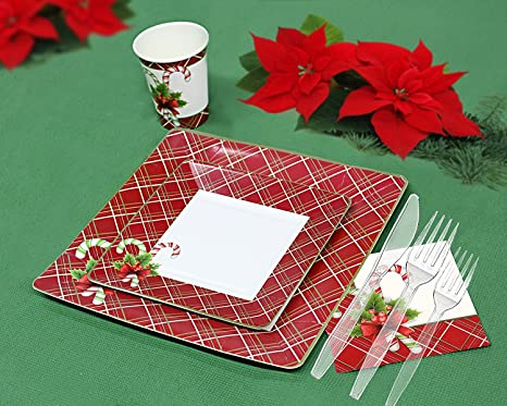 christmas disposable dinnerware for 40 guests 280 pieces set of paper plates cups - Christmas Plastic Plates