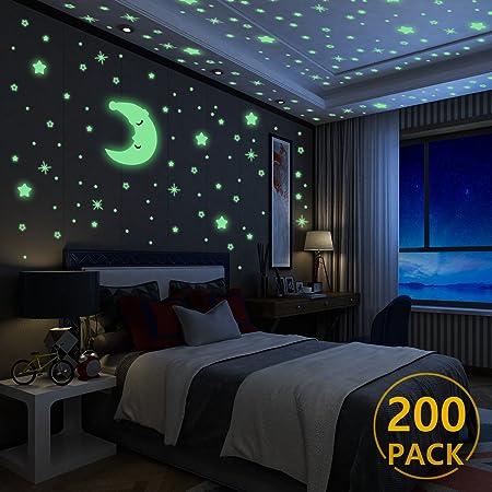 ♥200 piezas de estrellas y una luna están incluidas en el paquete; las estrellas son de 4 tamaños di
