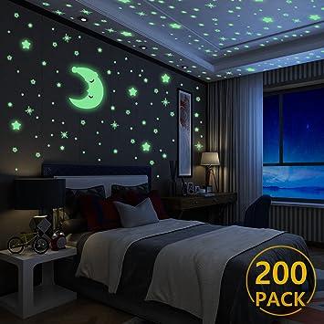 Luminoso Pegatinas De Pared Yosemy Luna Y Estrellas Fluorescente Decoración De Pared Para Dormitorio De Niños Diy Decoración De La Habitación Para