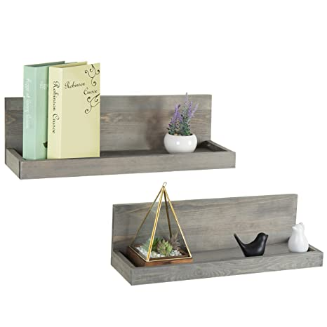 Mygift 24 Inch Vintage Design Wall Mounted Floating Wood Shelves With Gray Finish Set Of 2