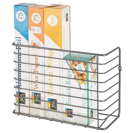 mDesign Cesta de alambre para colgar – Estantería metálica resistente para  armario o pared – Práctico 762fef9b3ce7