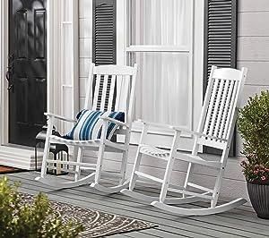 Set of 2 White Finish Farmhouse Porch Rocker Outdoor Wood Rocking Chair Patio Lawn Garden Furniture