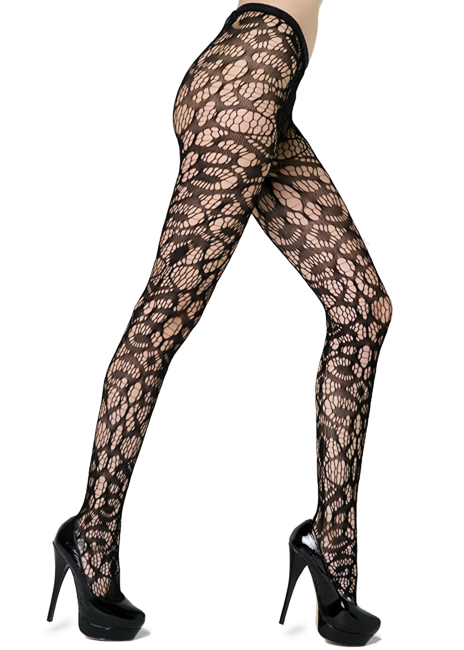 Abstract Crescent Shapes Fishnet Pantyhose (Queen, Black)