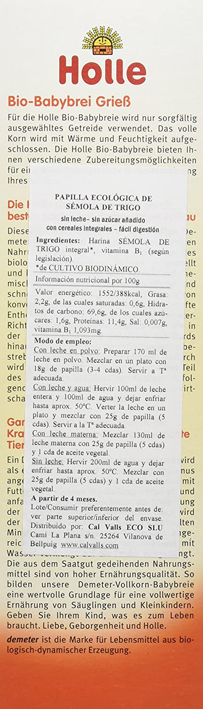 Holle Papilla de Sémola de Trigo (+4 meses) - Paquete de 6 x 250 gr - Total: 1500 gr