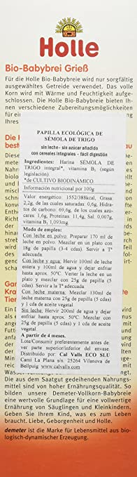 Holle Papilla de Sémola de Trigo (+4 meses) - Paquete de 6 x 250 gr - Total: 1500 gr: Amazon.es: Alimentación y bebidas