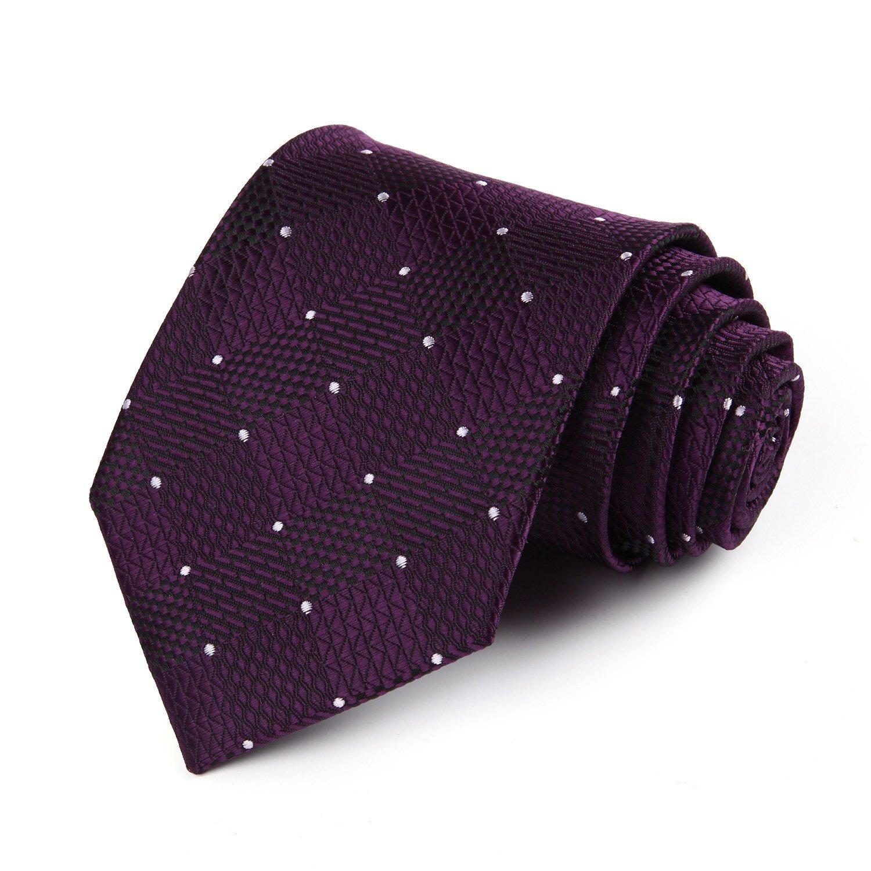 Enmain Check Jacquard Woven Mens Wedding Silk Tie Pocket Square Necktie Set TC442E8S-EN