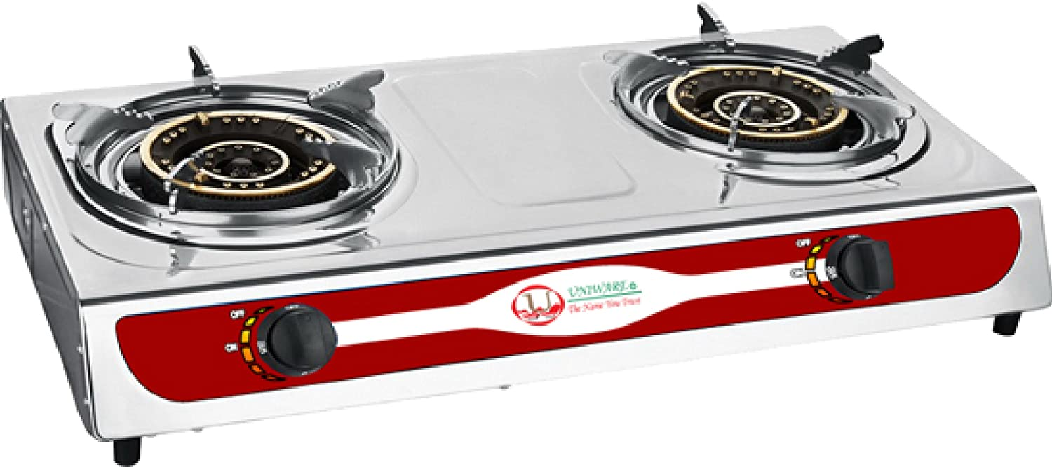 6005 Uniware Stainless Steel Double Burner Portable Gas Propane Stove Outdoor Cooker Camping Car (Gas Stove (Not Include Tube))