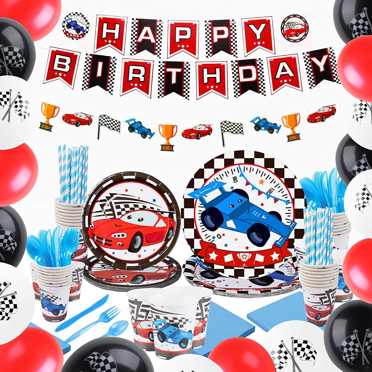 Racing Car Party Supplies Set Race Car Party Supplies Birthday Decorations for Boys Banner Balloons Plates Cups Napkins Tableware Chequered Flag Wheel Themed Birthday Party Kits Serves 16 Guests