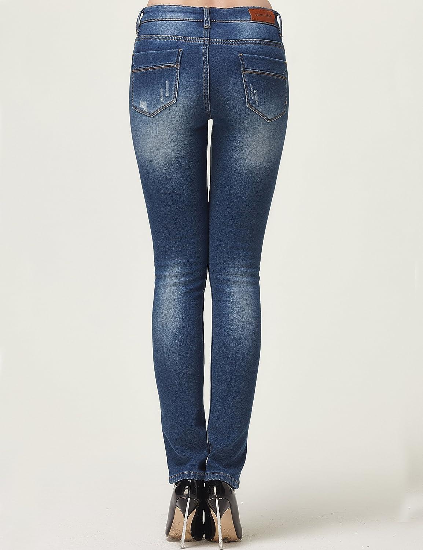 Camii Mia Damen Jeanshose Slim Fit Jeans Fleece Gefürttert Regulart Denim Hose Trousers