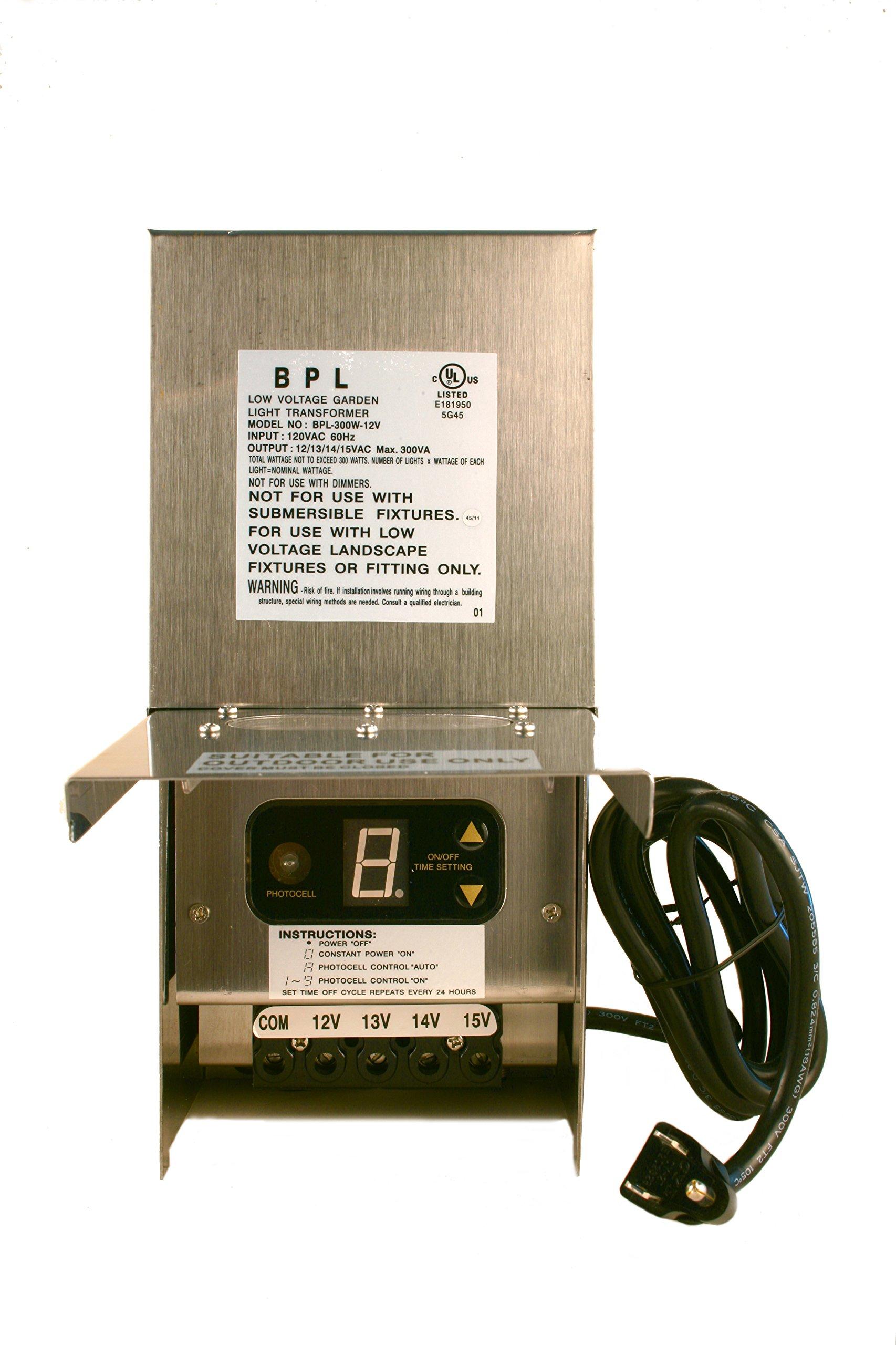300W Stainless Steel with 12V-15V Multi Tap Landscape Lighting Transformer by Best Pro Lighting
