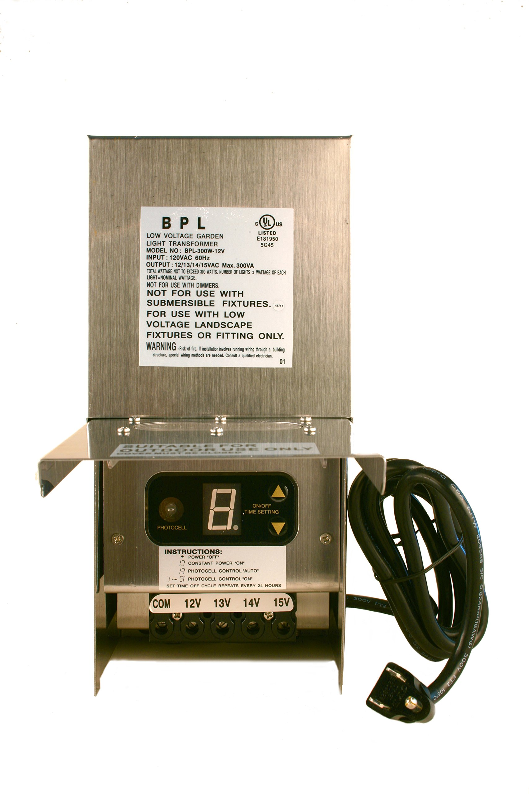 300W Stainless Steel Low Voltage Landscape Light Transformer 12V