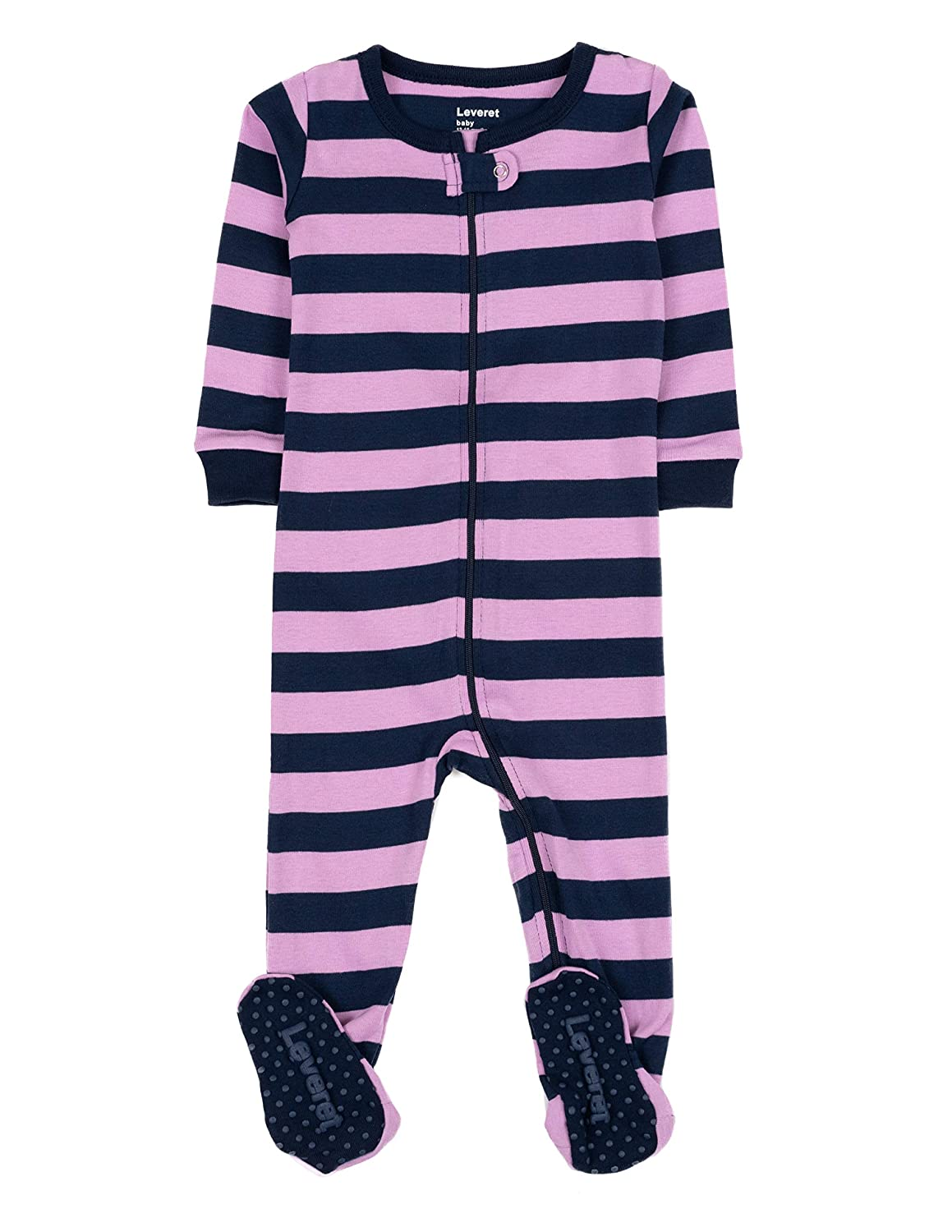 Purple//Navy Leveret Footed Striped Baby Girl PJ Sleeper
