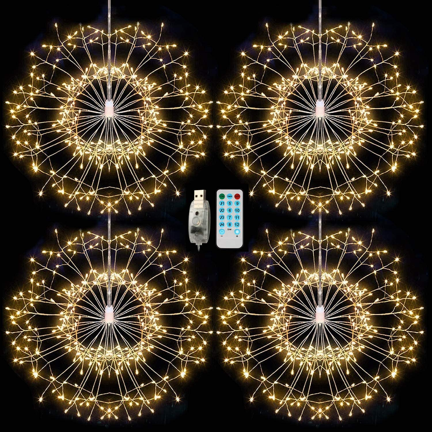 4 Pack 480 LED Fireworks Lights Curtain Fairy Lights with Remote USB Powered, Pulchram String Light Christmas Decoration,Indoor Outdoor for Garden,Wedding, Bedroom, Party,Tree Multicolor 2