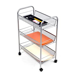 Mind Reader 3-Shelf All Purpose Mobile Utility Cart, Silver