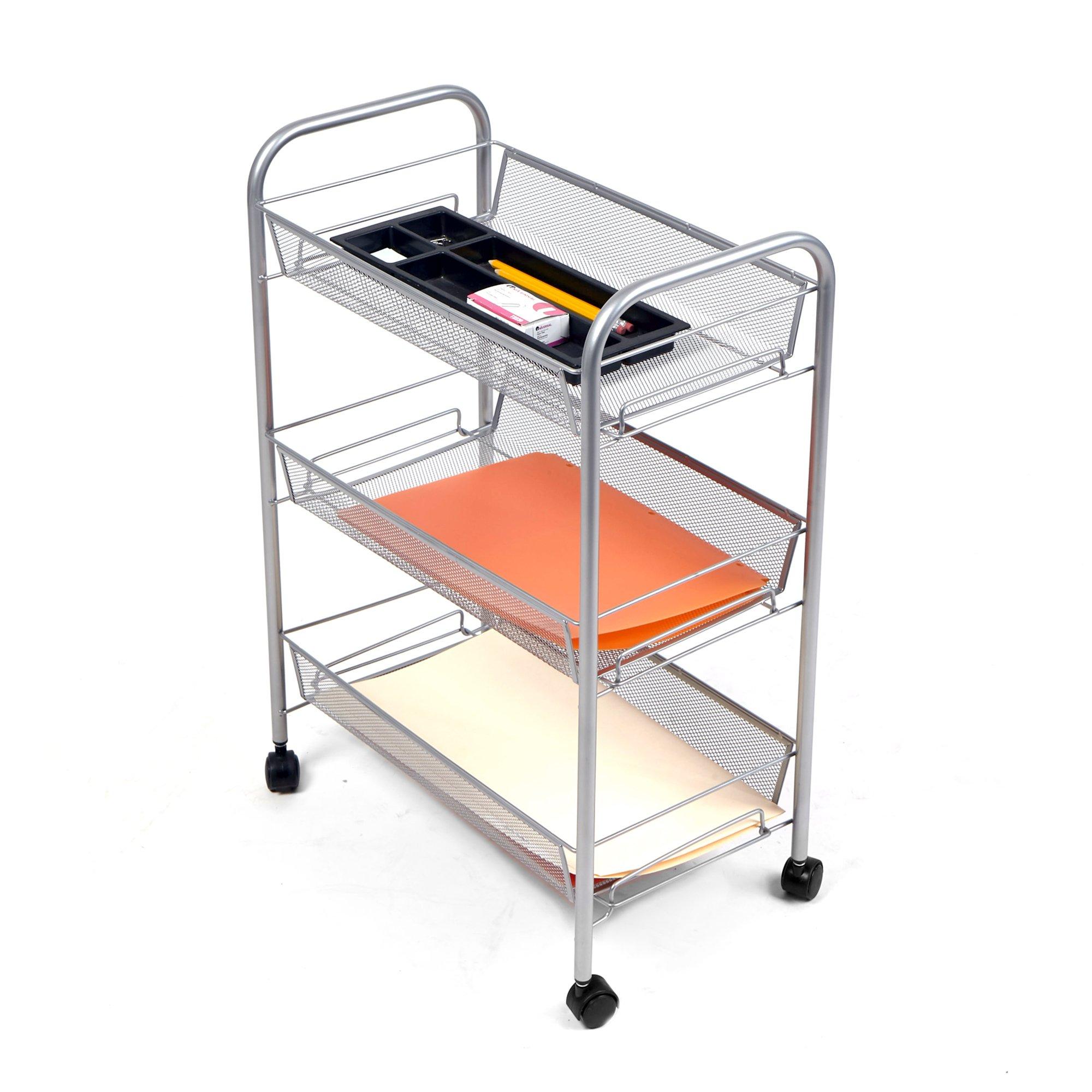 Mind Reader 3-Shelf All Purpose Mobile Utility Cart, Silver