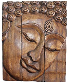 Hand Carved Wooden Thai Buddha Face Wall Art Plaque Hanging, Buddha Panels,  Teak Wood