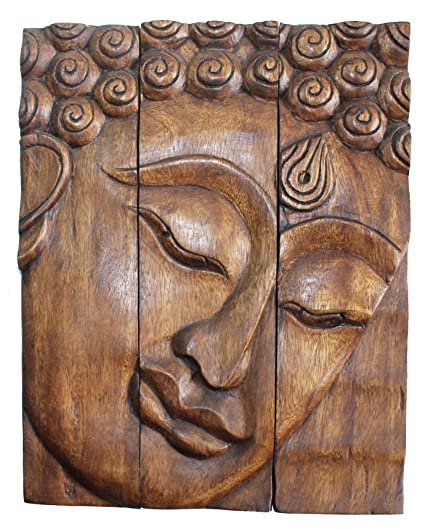 Amazon Com Hand Carved Wooden Thai Buddha Face Wall Art Plaque