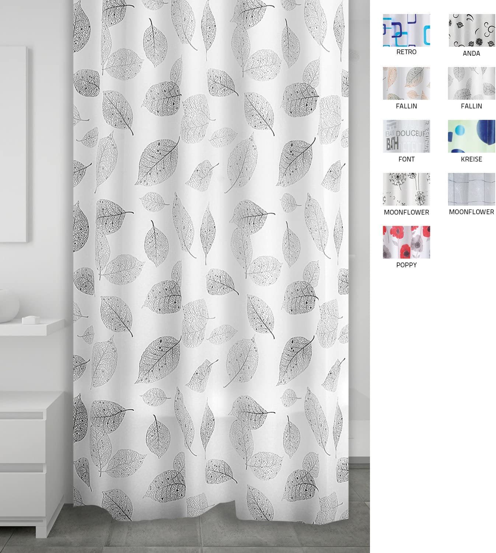 Ridder Vinyl Fallin Shower Curtain, Grey Fallin Grey