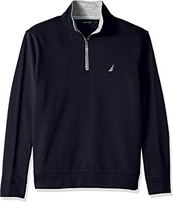 Nautica Men's Solid 1/4 Zip Fleece Sweatshirt : Color - Monaco Blue, Size - X-Large (B07F6WNPDZ)