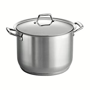 Tramontina 80101/017DS Gourmet Prima Stainless Steel, Induction-Ready, Impact Bonded, Tri-Ply Base Covered Stock Pot, 16 Quart, Made in Brazil