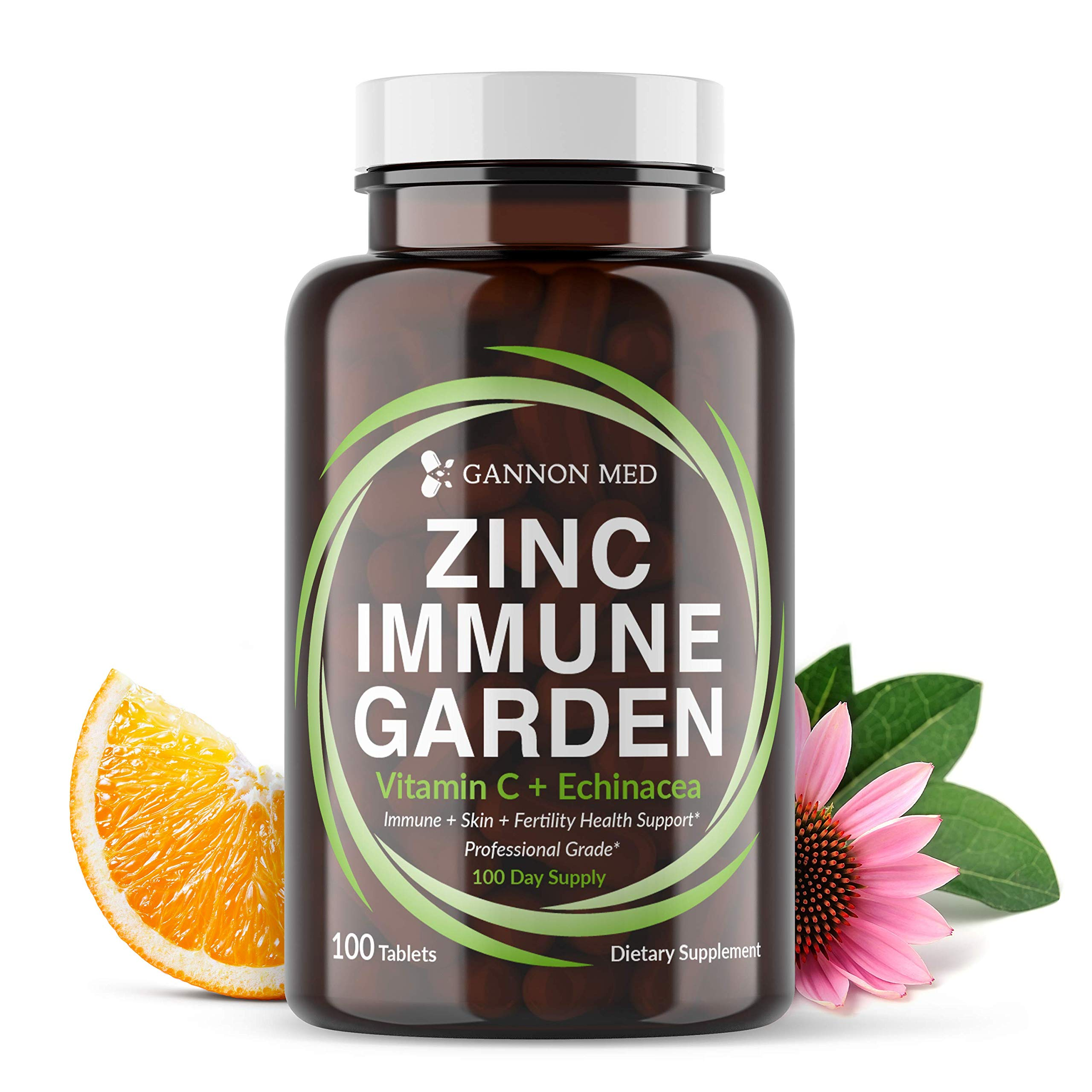 Zinc Immune Garden - Chelated Zinc AAC 50mg - Vitamin C 800mg - Echinacea 600mg per Tablet - 100 Day Supply - Immunity + Skin + Reproductive Health - Easy to Take, One a Day Immune Booster - Vegan