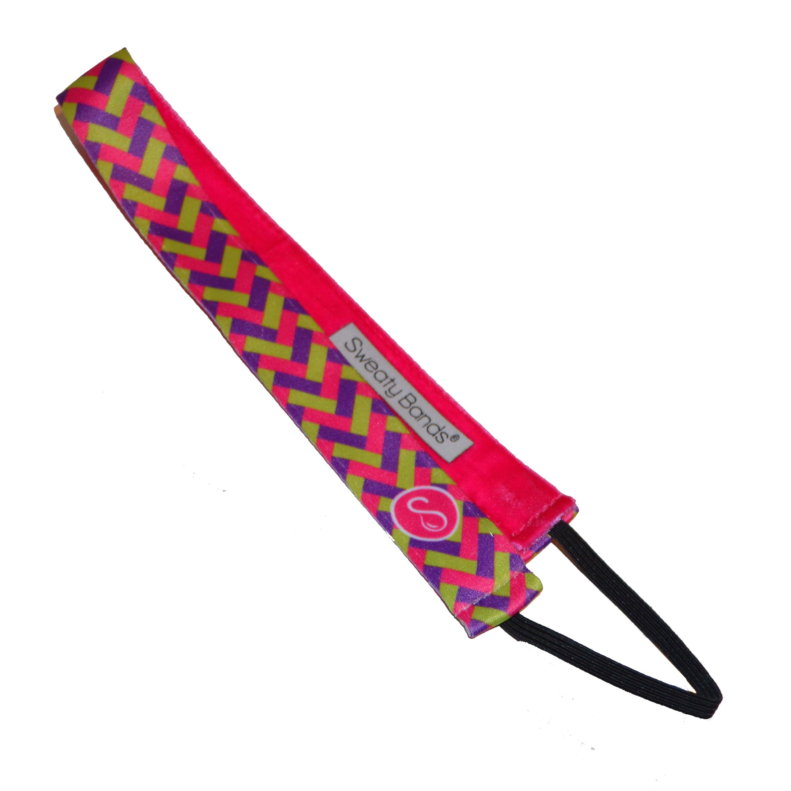 Sweaty Bands - Exclusive Sweatys !!! - #1 Fitness Headband! (Basket Weave - 1'' Pink Green and Purple)